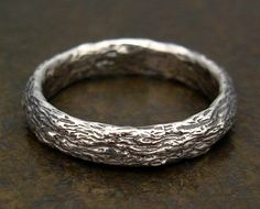 Silver Wedding Band with Tree Bark Texture - Womens or Mens Wedding Ring - Matching Wedding Ring Set - Engagement Ring - Commitment Ring