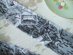 Grey Paris map fabric  fabric strip  map  french by dkshopgirl, $3.50