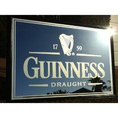 "Guinness Draught Large 40"" Irish Back Bar Mirror - Pub Advertising Sign"