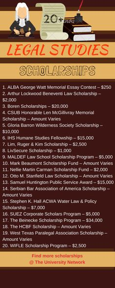 Here is a selection of Legal Studies Scholarships that are listed on TUN.