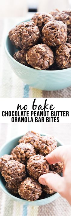 These no bake chocolate peanut butter granola bar bites are made with just a few ingredients and are so easy to make for a perfect healthier snack or treat!