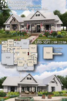 Introducing Architectural Designs Modern Farmhouse House Plan 16903WG with 3 Bedrooms 2 and a half baths in over 2,300+ Sq Ft PLUS a Bonus Room over the Garage.