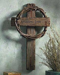 *******need purple drape and smaller thorn crown, maybe behind the top of the cross and not hung over one part of the cross bar Wooden Crosses, Crosses Decor, Wall Crosses, Mosaic Crosses, Christian Book Store, Christian Decor, Old Rugged Cross, Rustic Cross, Sign Of The Cross