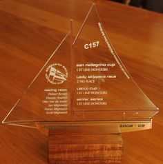 Laser cut and engraved sailing award combination of timber and acrylics MyChoice@Firebridge design to your needs