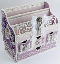 This large Kaiser Craft wood organizer was covered with the luscious purples of Pion Design's My...