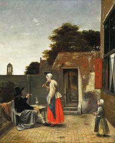 Pieter de Hooch - A Man Smoking and a Woman Drinking in a Courtyard [c.1658-60]  #17th #Child #Classic #Drink #Painting #Pieter de #Hooch #Smoke