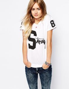 Stussy T-Shirt With Varsity Number Print