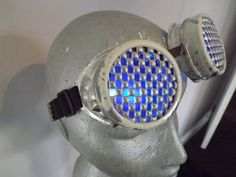 White & Silver Modified hand painted welding goggles led light