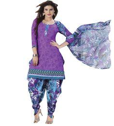 Crepe Purple Printed Unstitched Patiala Suit - Q1013 at Rs 715