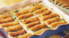 Vibrant green peas add color to this fast-to-assemble fish and potato casserole.