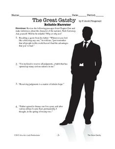 worksheets for great gatsby | The Great Gatsby Chapter Two Student\'s ...