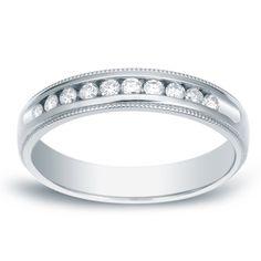 Auriya 14k Gold 1/3ct TDW Miilgrain Round-Cut Diamond Channel Band (H-I, SI1-SI2) ( Gold - Size ), Women's