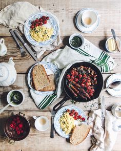 A table-creaker of a breakfast on a wet Monday morning. We're having eggs, sausages, mushrooms, and the rest while the rain thumps down, macs warming on the radiator. A Table, Stuffed Mushrooms, Macs, Treats, Cheese, Sausages, Monday Morning, Breakfast, Instagram
