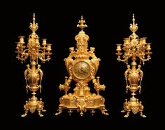 Antique French Gold Plated Bronze Louis XVI Clock and Candelabra 1850 1899   eBay