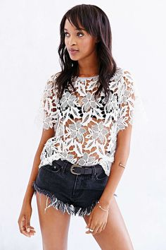 Kimchi Blue Emma Crochet-Front Tee - Urban Outfitters 29.99