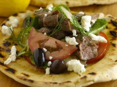 Grilled Lamb with Greek Spinach Pita Salad from FoodNetwork.com