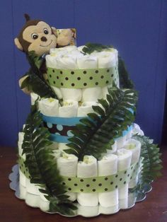 Items similar to Dress Form Diaper Cake on Etsy Jungle Diaper Cakes, Future Baby, Baby Things, How To Make Cake, Baby Showers, Shower Ideas, Monkey, Baby Gifts, Babies