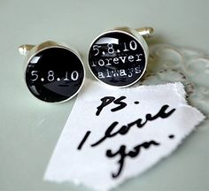 PS i love you - always and forever personalized date typewriter font cufflinks - special date - keepsake, groom, White Truffle Studio