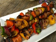 Grilled Kabobs with Balsamic Glaze. Grilled sausage and pepper kabobs with a balsamic glaze is an easy way to put a summertime twist on a classic dish. Sausage And Peppers, Stuffed Peppers, Food Dishes, Main Dishes, Grilled Sausage, Balsamic Glaze, All Vegetables, Kabobs, Tandoori Chicken