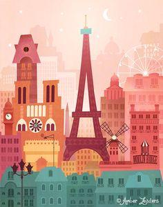 Paris by Amber Leaders 5x7 or 11x14 art by AmberLeadersDesigns
