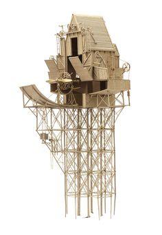 Imaginative Industrial Flying Machines Made From Cardboard by Daniel Agdag sculpture flying flight cardboard