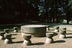 Table of Silence, 1938 (limestone) by Constantin Brancusi Constantin Brancusi, True Art, Modern Sculpture, Fountain, Bun Bun, Terrace, Outdoor Decor, Landscapes, Feels