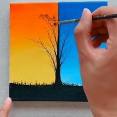 Great art by ID: 1159505892 (Döuyin App) lernen, Canvas Painting Tutorials, Easy Canvas Painting, Simple Acrylic Paintings, Diy Canvas Art, Easy Paintings, Acrylic Art, Diy Painting, Canvas Canvas, Decorative Paintings