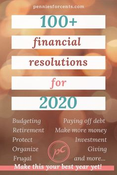 Looking to get your finances in shape in 2020? Why not make some resolutions? Find the ones that apply to you from this list. Make your goals and action plans to achieve them. Covering budgeting, debt repayment, investing, organizing finances, retirement planning. You can do this - even now. Saving For Retirement, Early Retirement, Retirement Planning, Financial News, Financial Goals, Ways To Save Money, Make More Money, Finance Organization, Organizing