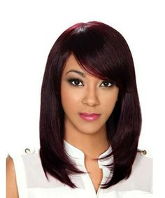 Remy Human Hair Wig by Zury Sis. Length: Medium Style: Straight Layered Pageboy, Side Swept Bang, Soft Silky Yaky Texture Color Shown: Long Layered Hair, Long Hair Cuts, Straight Hair, Face Shape Hairstyles, Wig Hairstyles, Brown Hairstyles, Remy Human Hair, Human Hair Wigs, Remy Hair