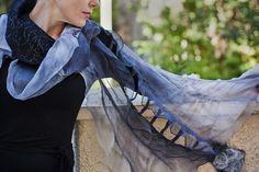 Grey Black silk shawl Felted silk scarf Nuno by SwellEcoFashion