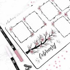 February Bullet Journal Cherry Blossoms Theme - The Smart Wander