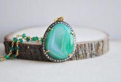 Green Necklace Druzy Green Necklace Druzy by FawningInLove on Etsy
