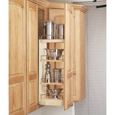 The Wood Classic pull-out cabinet organizer by Rev-A-Shelf is the perfect storage solution for kitchen organization. Designed for and narrow cabinets, this cabinet organizer features 5 tiers of storage space including 3 adjustable shelves. Wall Storage Cabinets, Kitchen Drawer Organization, Wall Shelves, Kitchen Storage, Food Storage, Kitchen Organizers, Cabinet Organizers, Utensil Organizer, Countertop Organization