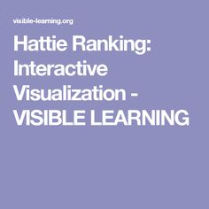 Hattie Ranking: Interactive Visualization - VISIBLE LEARNING
