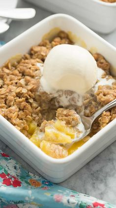For pineapple lovers! This Pineapple Crisp is loaded with fresh pineapple chunks, topped with a brown sugar streusel, and baked until golden! SO good with vanilla ice cream! Easily gluten free dessert.