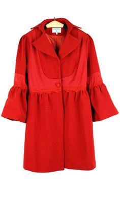 Lapel pure color babydoll lantern sleeve windbreaker jacket 092523