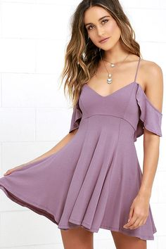 Lulus Exclusive! Get a little flirty with the Lifetime of Love Mauve Backless Skater Dress! Ruffled shoulder straps support a darted triangle bodice and frame a low back with lace-up ties. Jersey knit skater skirt has an unforgettable bounce and sway.