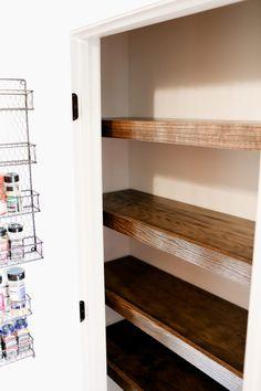 Diy Wood Shelves, Floating Shelves Diy, Build Shelves, Reclaimed Wood Floating Shelves, Ikea Shelves, Pantry Shelving, Wire Shelving, Shelves For Closet, Shelving Ideas