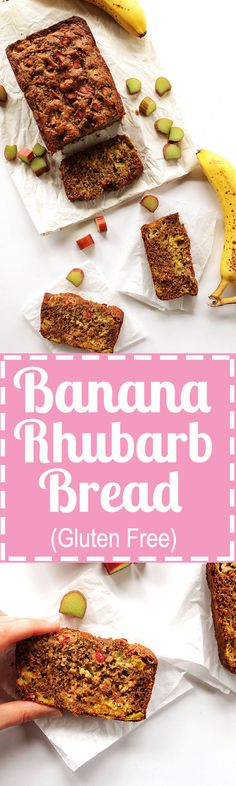 Banana Rhubarb Bread - Gluten free banana bread with bits of tart rhubarb baked inside. We love this recipe in the spring! Gluten Free.