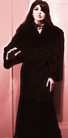 Vintage 1990s OTELLO PELLE Black 100% Wool Fringe Shawl Collar Tie Jacket XL #OTELLOPELLE