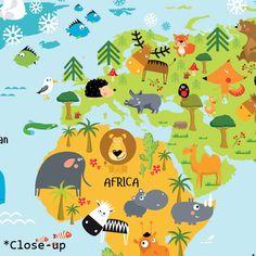 Kinder wereldkaart op canvas, op hout, op glas, op poster. Leuk voor in elke kinderkamer en babykamer.