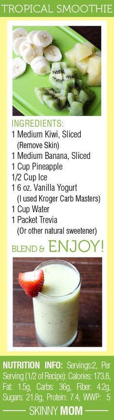 I'd use an avocado rather than kiwi -DELICIOUS Skinny Tropical Fruit Smoothie! Great for a quick breakfast on the go or a snack mid-day! Smoothie Fruit, Smoothie Drinks, Healthy Smoothies, Healthy Drinks, Healthy Snacks, Healthy Eating, Healthy Recipes, Easy Recipes, Making Smoothies