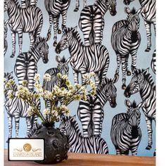 Built on the idea of bringing the outside world indoors, Charlotte Jade create unique and exclusive furniture designs inspired by all things nature. See at . Zebra Wallpaper, Unique Wallpaper, Kids Wallpaper, Animal Wallpaper, Zebra Print, Animal Print Rug, Light Blue Background, Home Decor Online, Luxury Home Decor