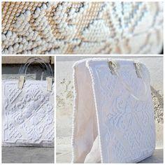 Borsa in tessuto sardo, fondo in pelle, manici e parti laterali in plastica trasparente, design and handmade by gabriellapontis.com