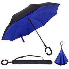 Double Layer Inverted Umbrella Cars Reverse folding Umbrella Windproof UV Protection Big Straight Umbrella for Car Rain  #Umbrellas