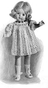 Doll's Dress   Free Crochet Patterns (matches vintage girl's crocheted dress, so cute!)