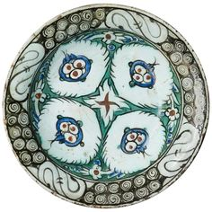 "For Sale on - Beautiful Iznik pottery plate, Ottoman Turkey, century Literature: This plate has been shown at the exhibition ""Le Mille e Una Notte"" – Persian, Turkish Pottery Plates, Glazes For Pottery, Ceramic Pottery, How To Better Yourself, Improve Yourself, Pottery Supplies, Plates For Sale, Mind Tricks, Pottery Studio"