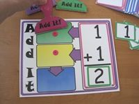 "I found a fun math game from Lakeshore Learning, but it was a tad pricey, so I made up my own. It's called ""Add It! Math For Kids, Fun Math, Math Activities, Therapy Activities, Math Classroom, Kindergarten Math, Teaching Math, Montessori, Math Stations"