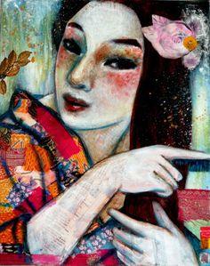 The blue comb - Leo-Vinh- 2013- mixed media art on canvas