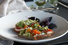 Tartine with Ricotta, Heirloom Tomatoes and Parsely Pesto - Olive Oil and Lemons